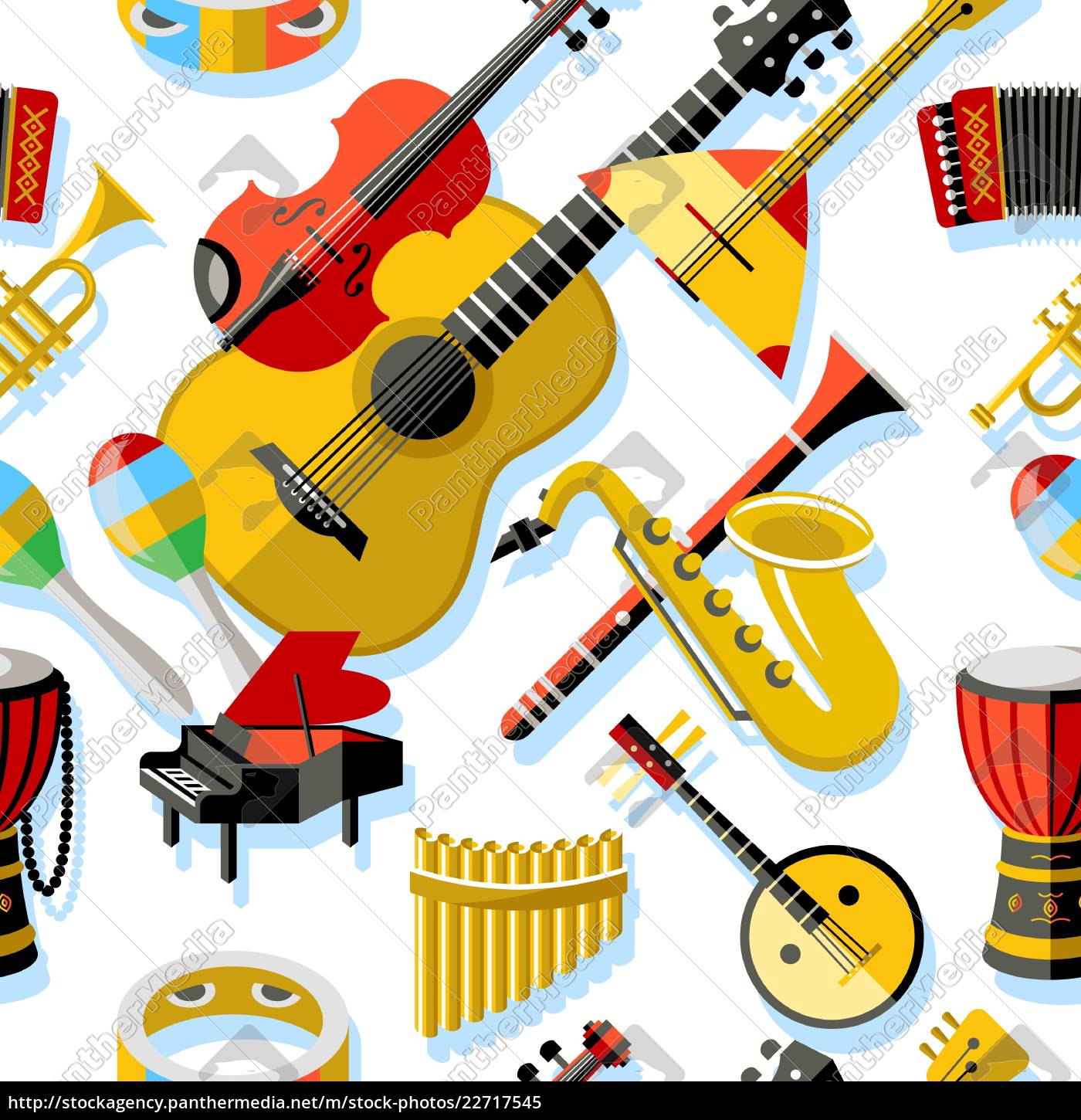 digital, vector, yellow, red, music, instruments - 22717545