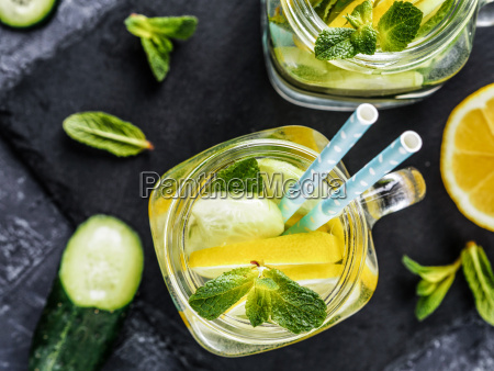 detox water with cucumber lemon and