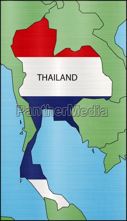 flag map of thailand illustration borders