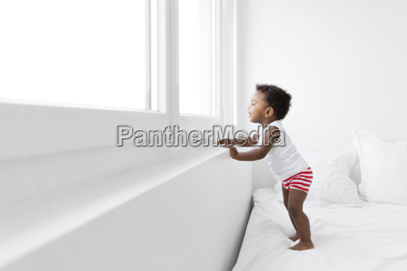 side view of young boy with