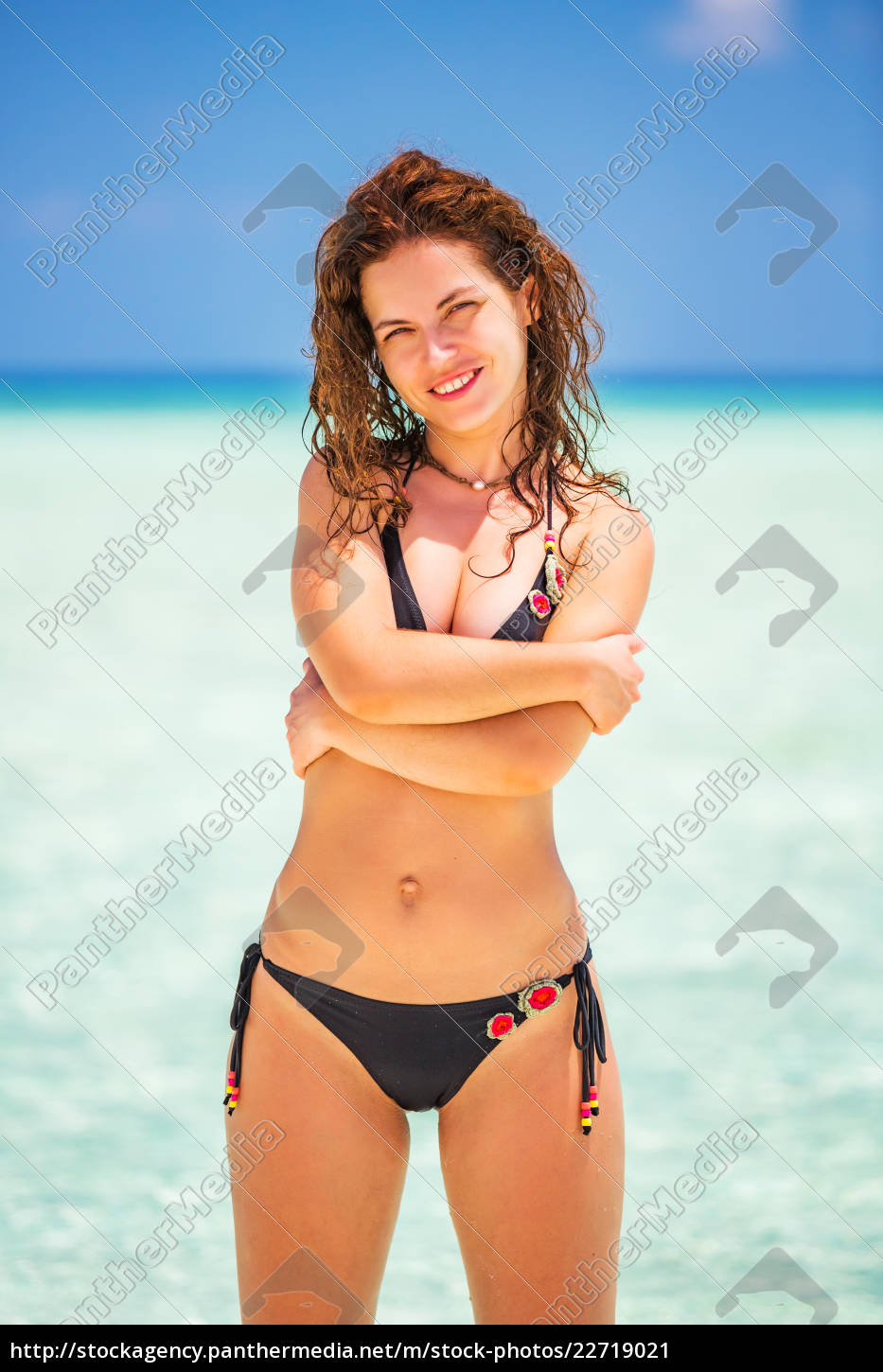 attractive, young, woman, enjoys, maldivian, beach - 22719021