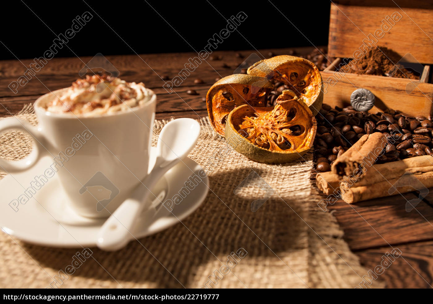 close-up, of, coffee, cup, , dried, orange - 22719777