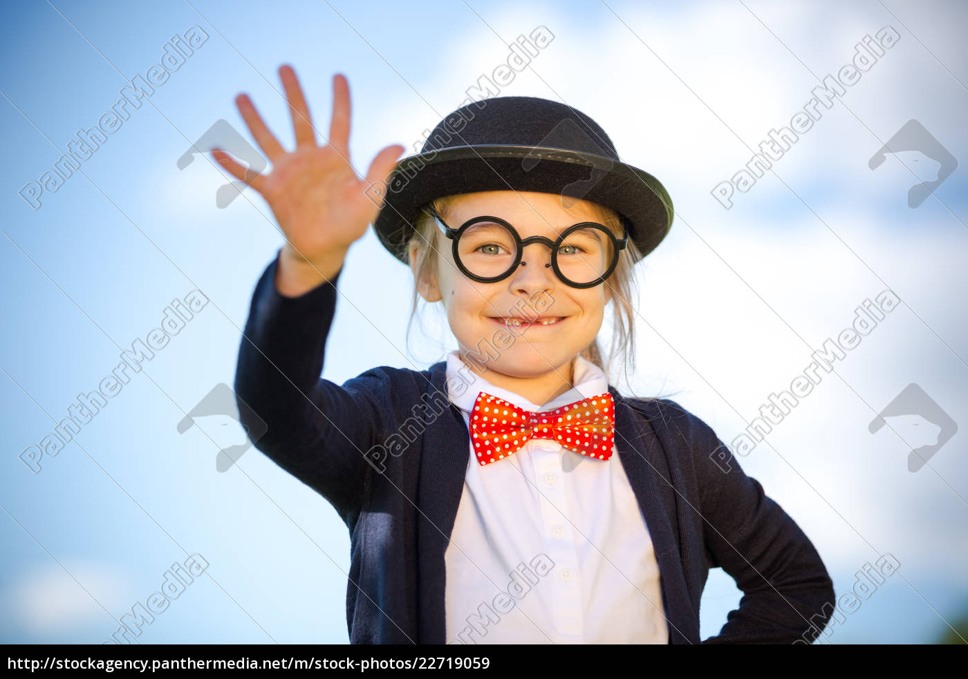funny, little, girl, in, bow, tie - 22719059