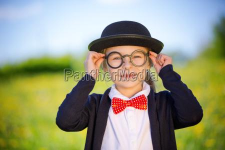 funny, little, girl, in, glasses, , bow - 22719051