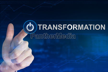 business hand clicking transformation button
