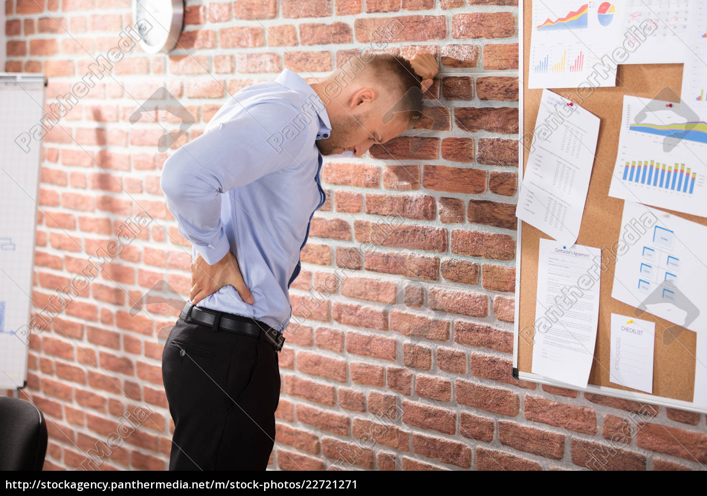 businessman, having, back, pain, in, office - 22721271