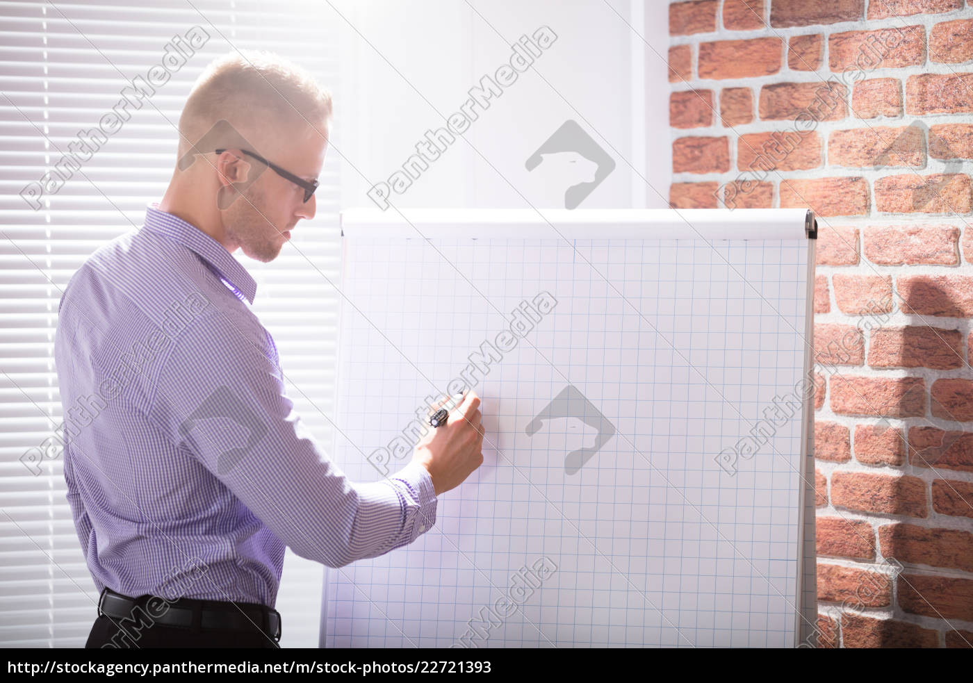 businessman, writing, on, grid, flip, chart - 22721393