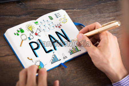 businessperson, drawing, the, plan, chart, on - 22721417