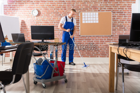 male, janitor, mopping, floor - 22721379