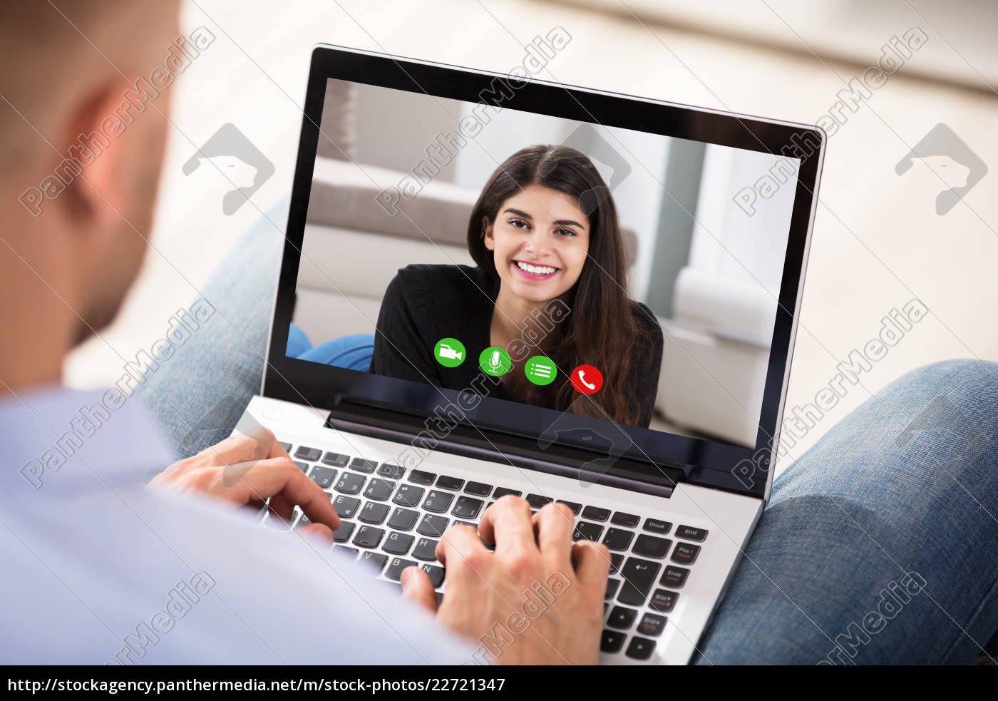 man, video, conferencing, with, her, wife - 22721347