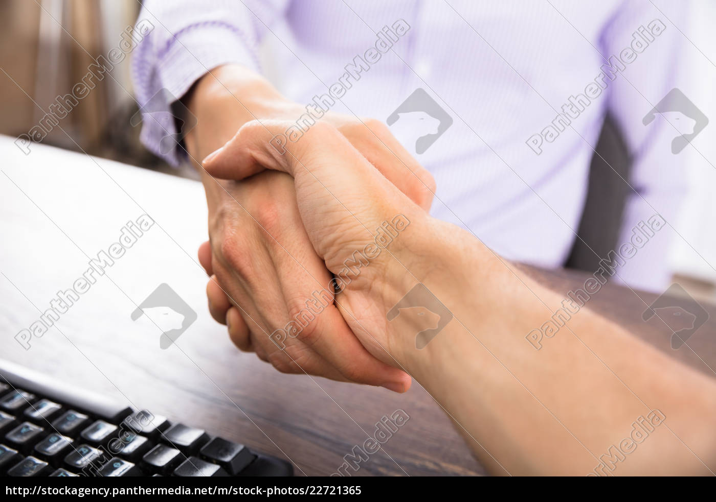 two, businesspeople, shaking, hands - 22721365