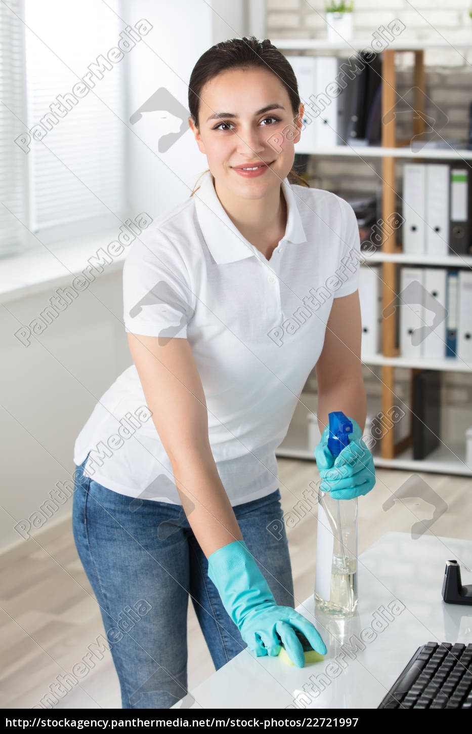 woman, cleaning, the, desk - 22721997