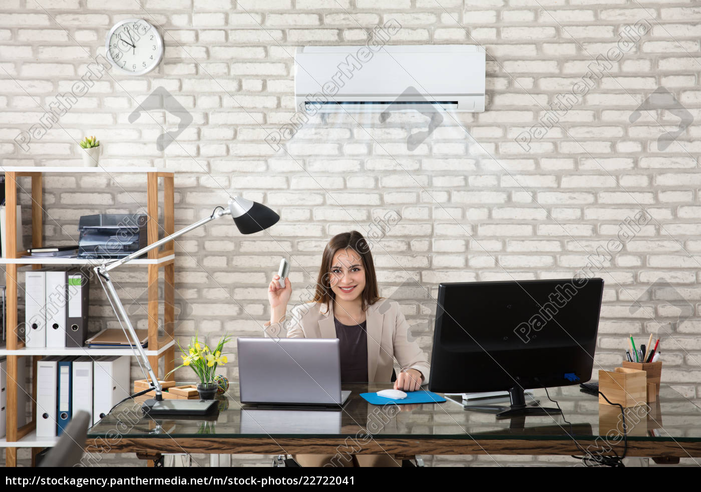 businesswoman, operating, air, conditioner - 22722041