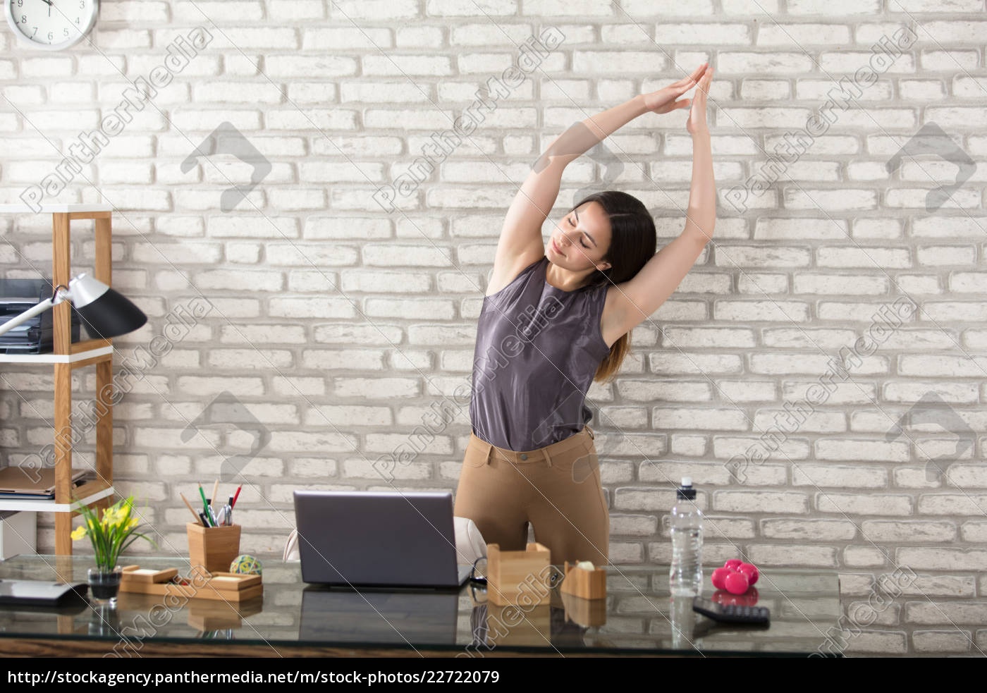 businesswoman, stretching - 22722079