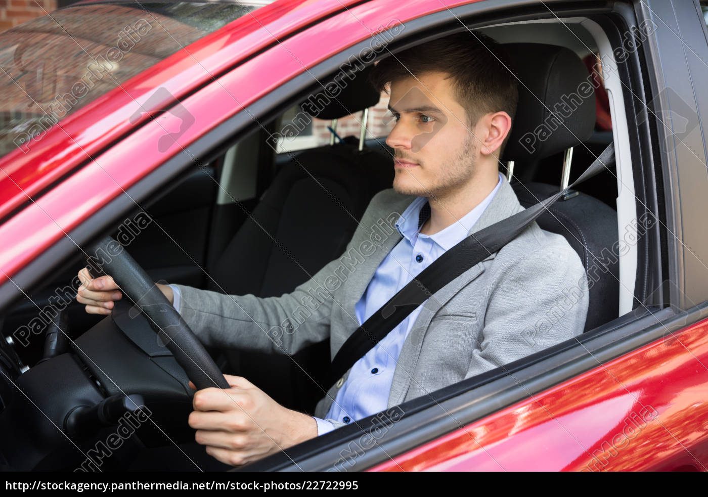 man, driving, red, car - 22722995