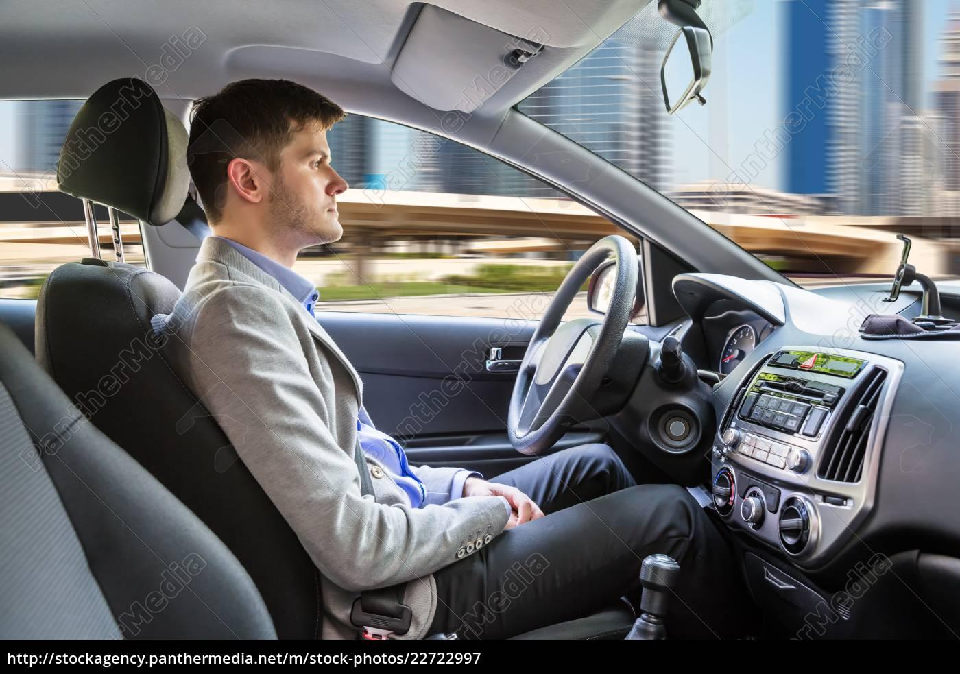 man, sitting, autonomous, car - 22722997