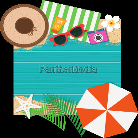 summer holiday background top view with
