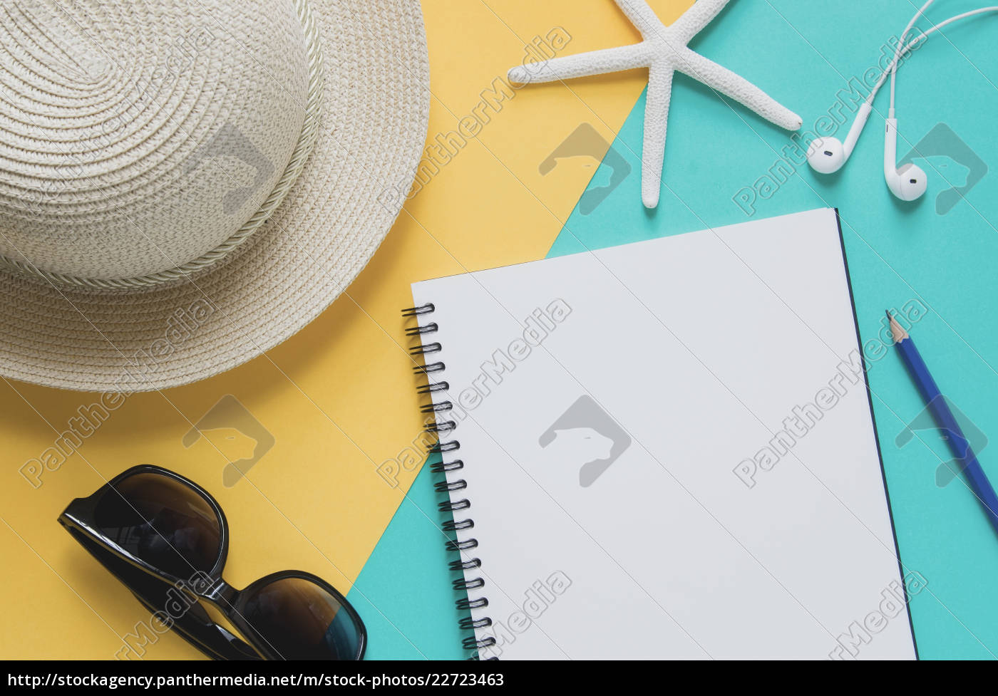 blank, notebook, with, straw, hat, , sunglasses, - 22723463