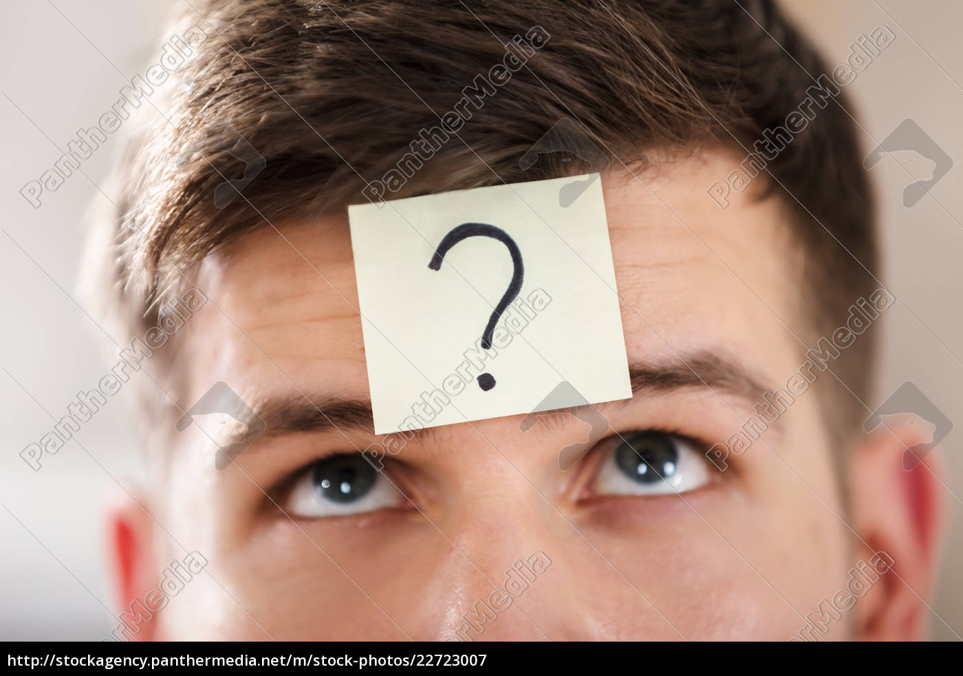 businessperson's, forehead, with, question, mark, on - 22723007
