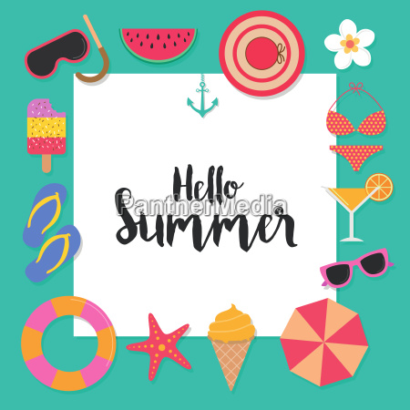 hello, summer, background, with, elements, for - 22723591