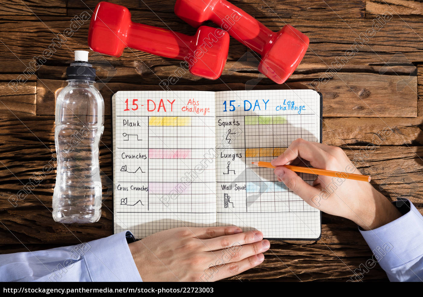 person, making, exercise, plan, on, notebook - 22723003