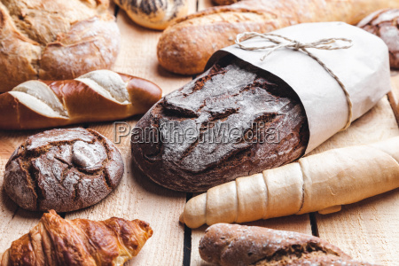 delicious, fresh, bread, on, wooden, background - 22727581