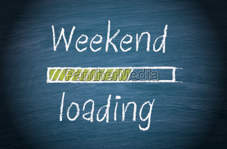 weekend loading blue chalkboard with text