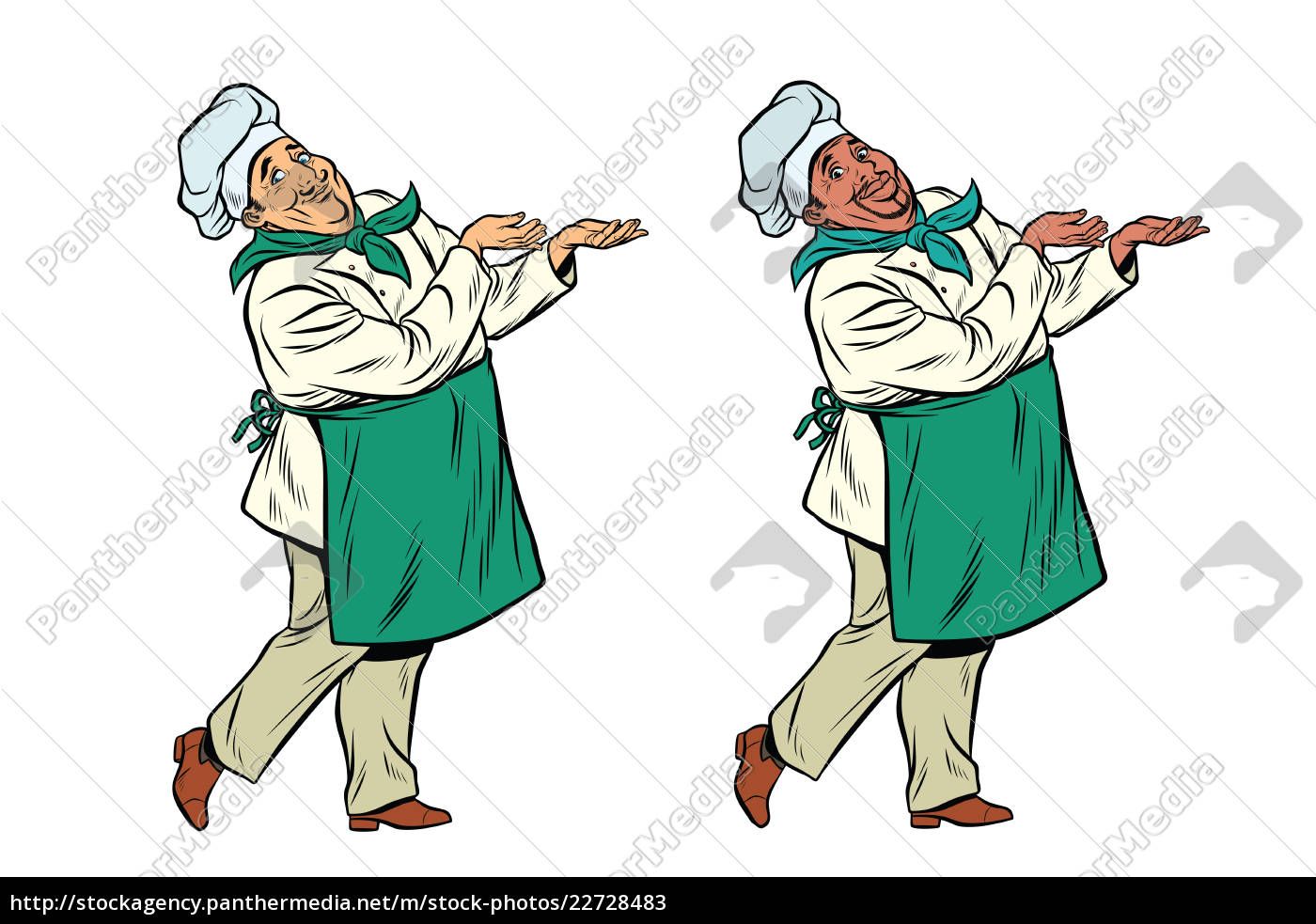 african, and, caucasian, chef, holding, hand - 22728483