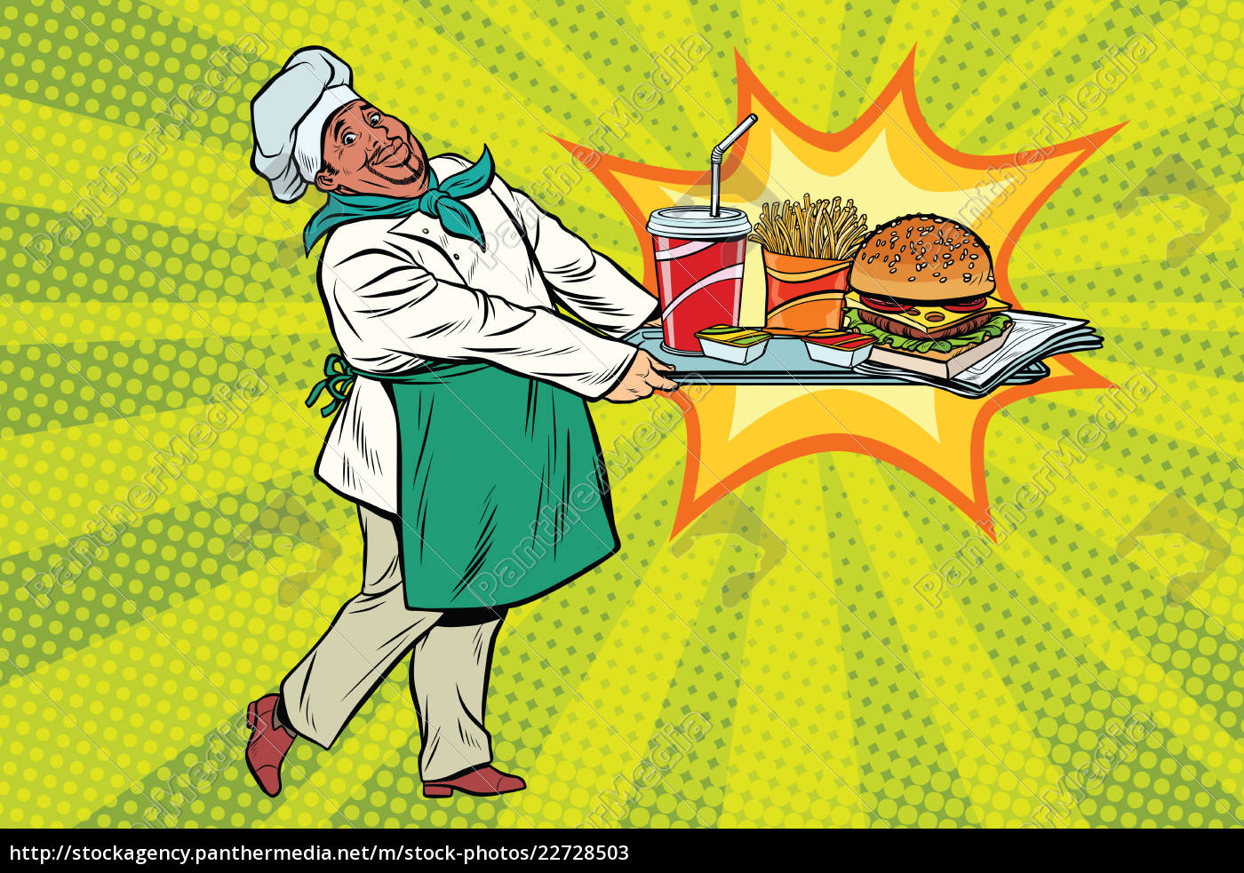 african, chef, brings, a, tray, of - 22728503