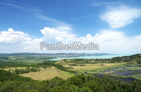 view to lake balaton from tihany