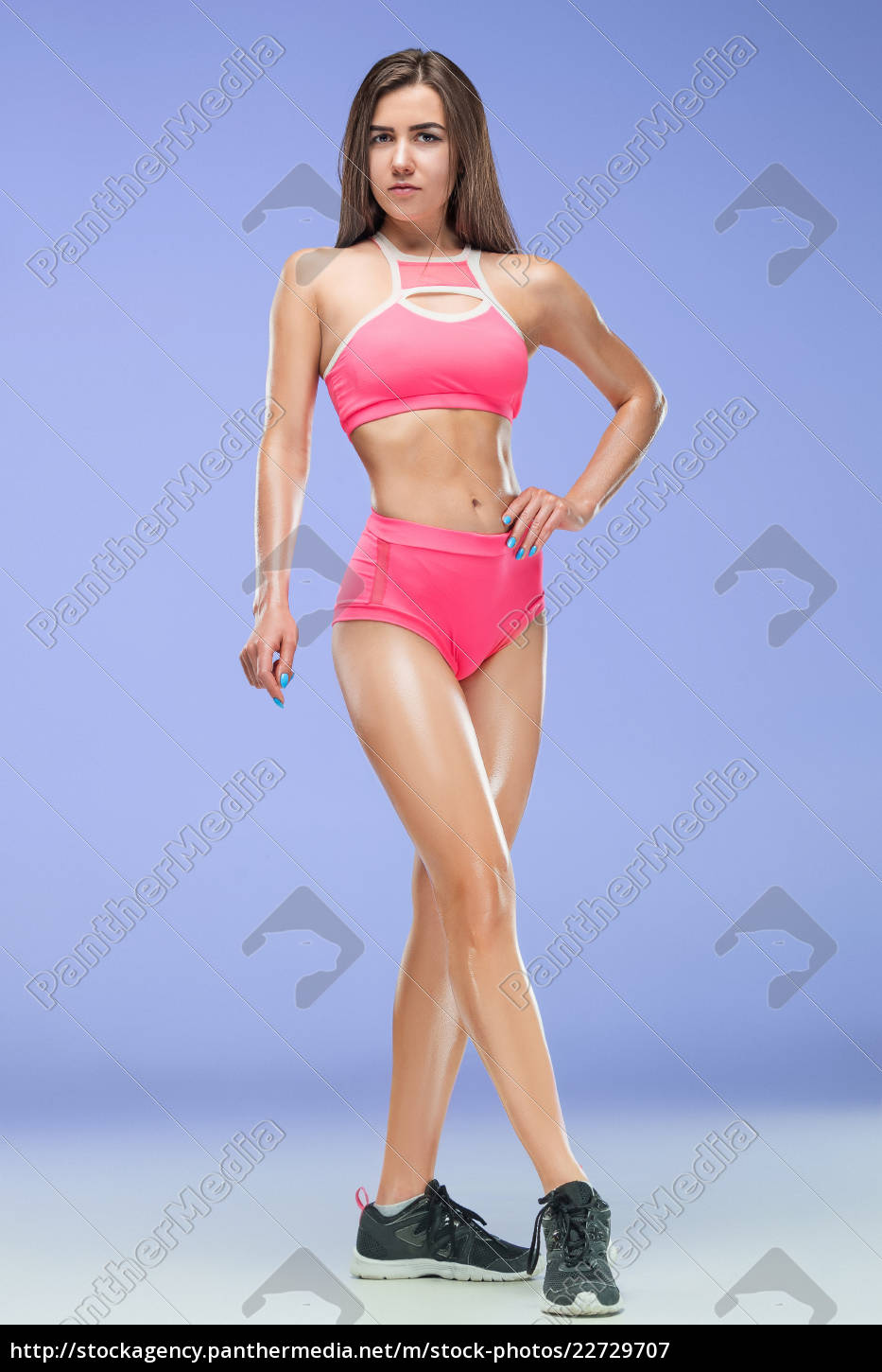 muscular, young, woman, athlete, posing, at - 22729707