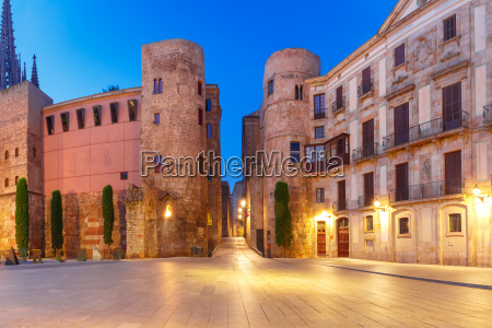 ancient roman gate in morning barcelona