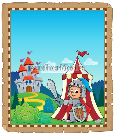 parchment with knight by tent theme