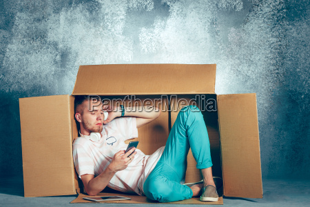 introvert, concept., man, sitting, inside, box - 22734845