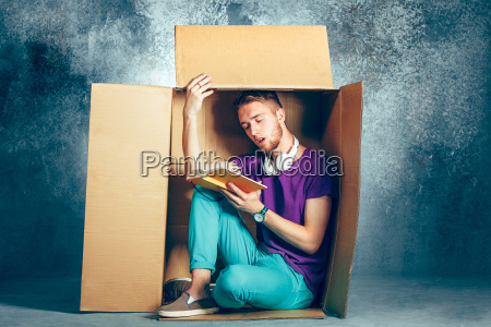 introvert, concept., man, sitting, inside, box - 22734847