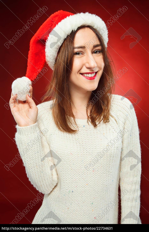 surprised, christmas, girl, wearing, a, santa - 22734631