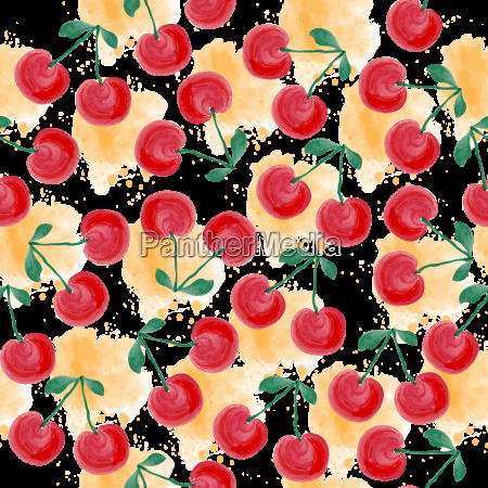fresh watercolor summer pattern with cherries