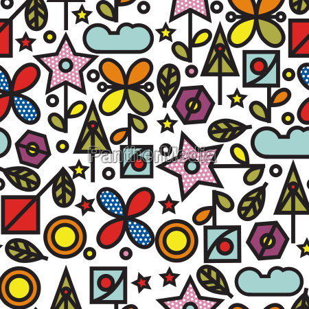 doodle style seamless pattern with flowers