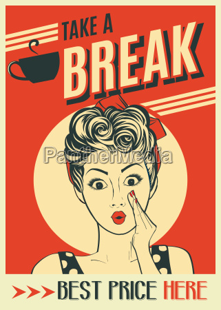advertising coffee retro poster with pop