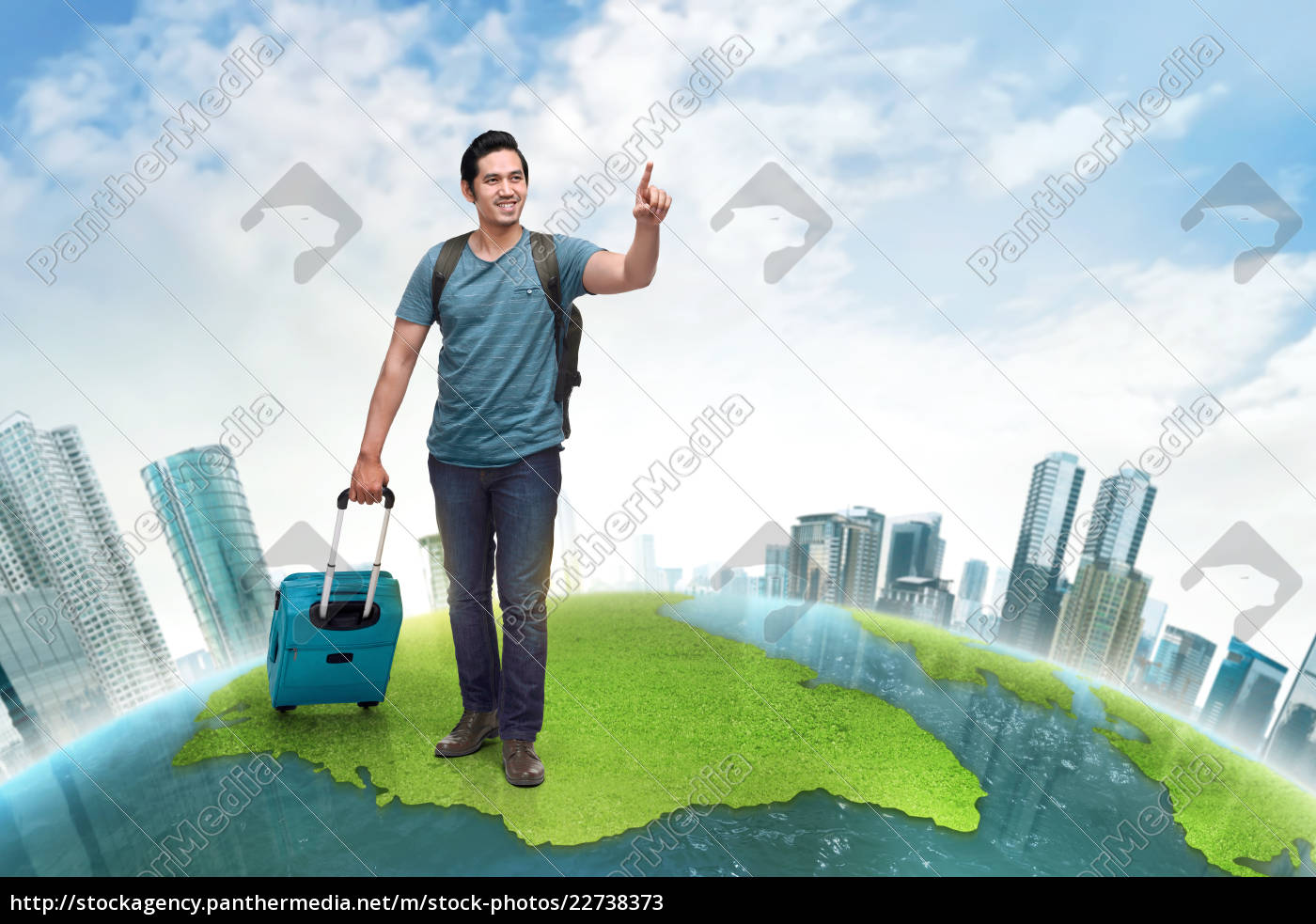 handsome, asian, backpacker, with, suitcase, traveling - 22738373