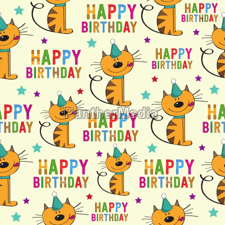 birthday seamless pattern with cats