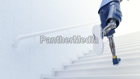 robot running up stairs 3d rendering
