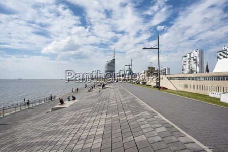 germany bremerhaven waterfront promenade with atlantic
