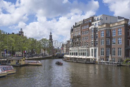 netherlands amsterdam view over amstel river