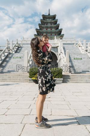 south korea seoul woman holding and