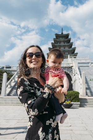south korea seoul woman holding a