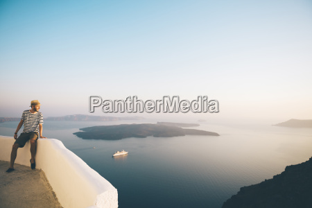 greece santorini fira man on holidays