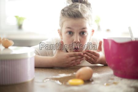 portrait of embarrassed little girl in