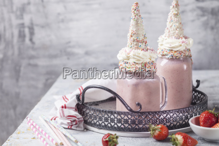 unicorn shake with cream and chocolate