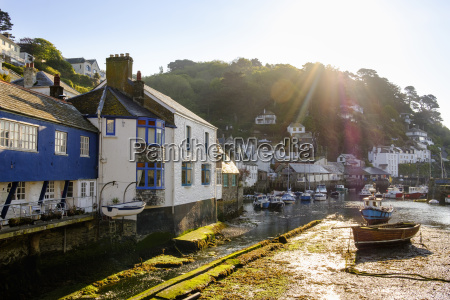 uk england cornwall polperro fishing harbor
